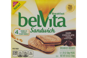 Nabisco belVita Breakfast Sandwich Dark Chocolate Creme - 5 CT