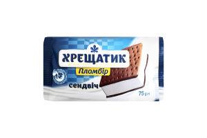 Морозиво 15% Пломбір Сендвіч на печиво з какао Хрещатик м/у 75г