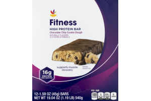 Ahold Fitness High Protein Bar Chocolate Chip Cookie Dough - 12 CT