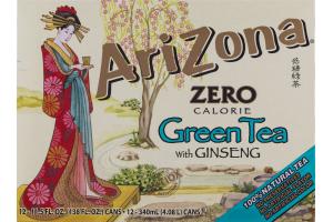 AriZona Zero Calorie Green Tea with Ginseng - 12 CT