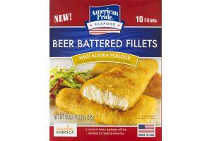 American Pride Seafood Beer Battered Fillets Wild Alaska Pollock - 10 CT