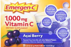 Emergen-C 1,000mg Vitamin C Dietary Supplement Acai Blueberry - 30 CT