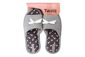 Тапочки открытые домашние женские №4568 Twins 36-37 gray