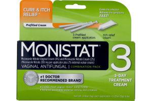 Monistat 3 Vaginal Antifungal 3 Day Treatment Cream Dual Action Combination Pack