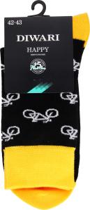 Шкарпетки чоловічі Diwari Happy №17C-151СП 27 чорний-жовтий