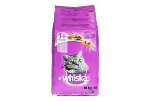 Корм сухой для взрослых кошек от 1года С говядиной Whiskas м/у 14кг