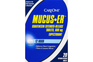 CareOne Mucus-ER 600mg Extended-Release Tablets - 20 CT