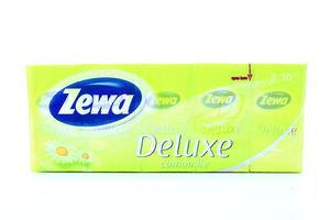 Платочки бумажные 21х21см 3-х слойные Ромашка Deluxe Zewa 10х10шт