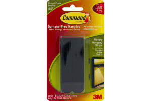 3M Command Brand Damage-Free Hanging Picture Hanging Strips Black - 4 CT