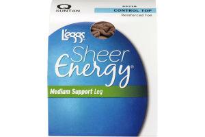 L'eggs Sheer Energy Medium Support Leg Control Top Reinforced Toe Suntan Q