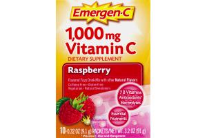 Emergen-C 1,000 mg Vitamin C Dietary Supplement Packets Raspberry - 10 CT