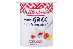 Десерт молочний 8.5% з полуницею та лимоном Mon Grec Elle&Vire ст 125г