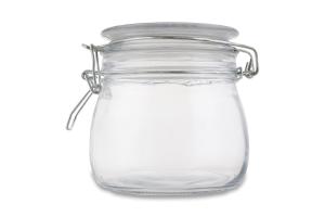 Банка д/хранения продуктов стеклянная крышка ассор