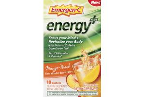 Emergen-C Energy Plus Fizzy Drink Mix Mango-Peach - 18 CT
