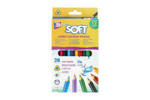 Олівці CoolForSchool Softy кольорові 2В 12шт 15136