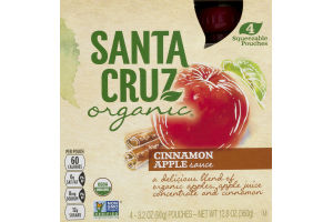 Santa Cruz Organic Cinnamon Apple Sauce Poches - 4 CT
