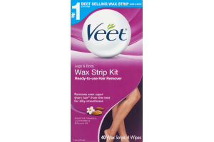 Veet Wax Strip Kit Ready-To-Use Hair Remover Legs & Body - 40 CT