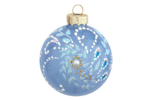 Прикраса ялинкова.Куля скляна,різнокольорова з малюнком, 65 мм в асортименті, шт