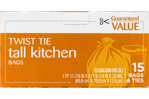 Guaranteed Value Twist Tie Tall Kitchen Bags - 13 Gallon