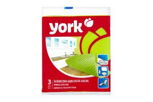YORK серветка д/прибирання губчаста суха 170*220*30мм, 3шт