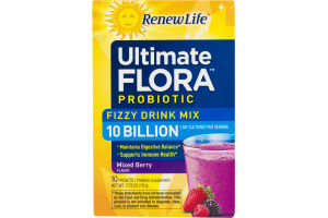 Renew Life Ultimate Flora Probiotic Fizzy Drink Mix Mixed Berry - 10 CT
