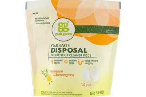 Grab Green Garbage Disposal Freshener & Cleaner Pods Tangerine With Lemongrass - 12 CT