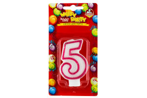 Свічки Happy Party Веселе свято для торту глазуров рожева 5