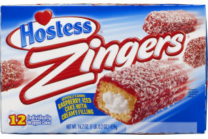 Hostess Zingers Raspberry Iced Cake with Creamy Filling - 12 CT
