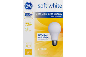 GE Lightbulbs Soft White 100W - 4 CT