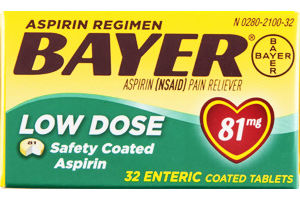 Bayer Aspirin Regimen Pain Reliever Low Dose Enteric Coated Tablets - 81mg