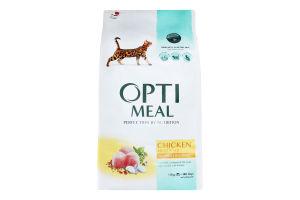 Корм сухой для взрослых котов с курицей Optimeal м/у 10кг