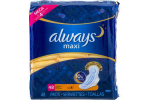 Always Maxi Overnight Pads - 48 CT