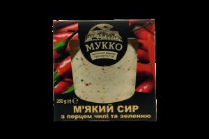 Сир 40% м'який з перцем чилі та зеленню Мукко к/у 250г
