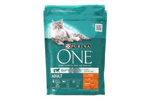 Корм для взрослых котов C курицей и цельными злаками Adult Purina One 200г