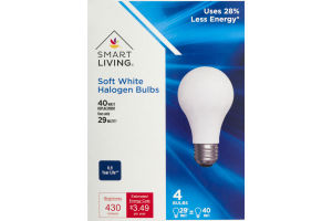 Smart Living Soft White Halogen Bulbs 40 Watt - 4 CT
