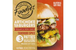 Foodies Artichoke Burgers Tandoori Spice Patties - 3 CT