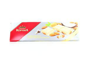 Шоколад Корона белый цел миндаль-кокос 200г
