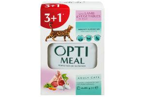 Корм повнораціонний консервований для дорослих котів з ягням та овочамив желе Optimeal 0,085 кг