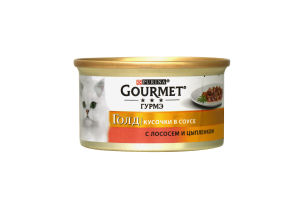 Корм для котов с лососем и цыпленком жестяная банка ключ Gourmet gold 85г
