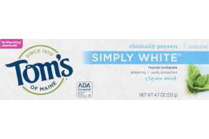 Tom's of Maine Fluoride Toothpaste Natural Simply White Clean Mint