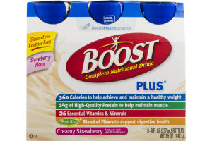 Boost Complete Nutritional Drink Plus Creamy Strawberry - 6 CT