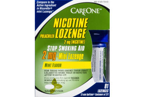 CareOne Nicotine Polacrilex Lozenge 2mg Mini Lozenge Mint - 81 CT