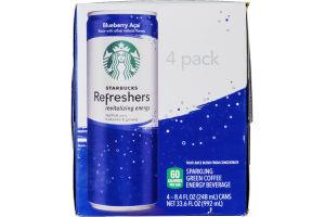 Starbucks Refreshers Sparkling Green Coffee Energy Beverage Blueberry Acai - 4 CT