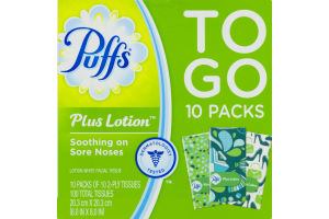 Puffs Plus Lotion Tissues To Go Packs - 10 PK
