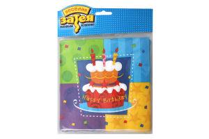 Салфетка 33см №1502-0707 Торт Birthday Веселая затея 12шт