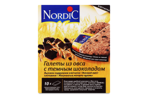 Галети з вівса з темним шоколадом Nordic к/у 10х30г