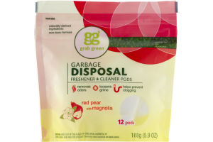 Grab Green Garbage Disposal Freshener & Cleaner Pods Red Pear With Magnolia - 12 CT