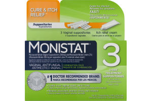 Monistat Cure & Itch Relief 3-Day Treatment Suppositories - 3 CT