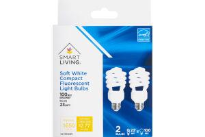 Smart Living Soft White Compact Fluorescent Light Bulbs 100 Watt - 2 CT