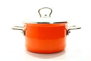 Каструля сталева емальов. помаранч. зі скл. кришкою 16см1,8л